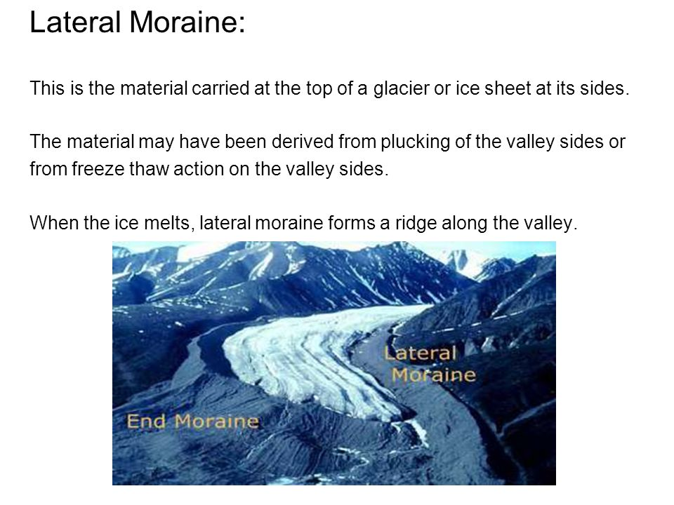 Lateral Moraine: This is the material carried at the top of a glacier or ice sheet at its sides.