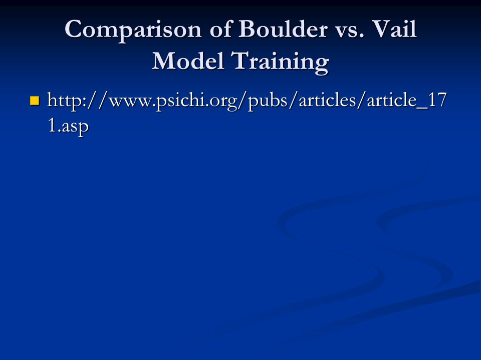Comparison of Boulder vs. Vail Model Training