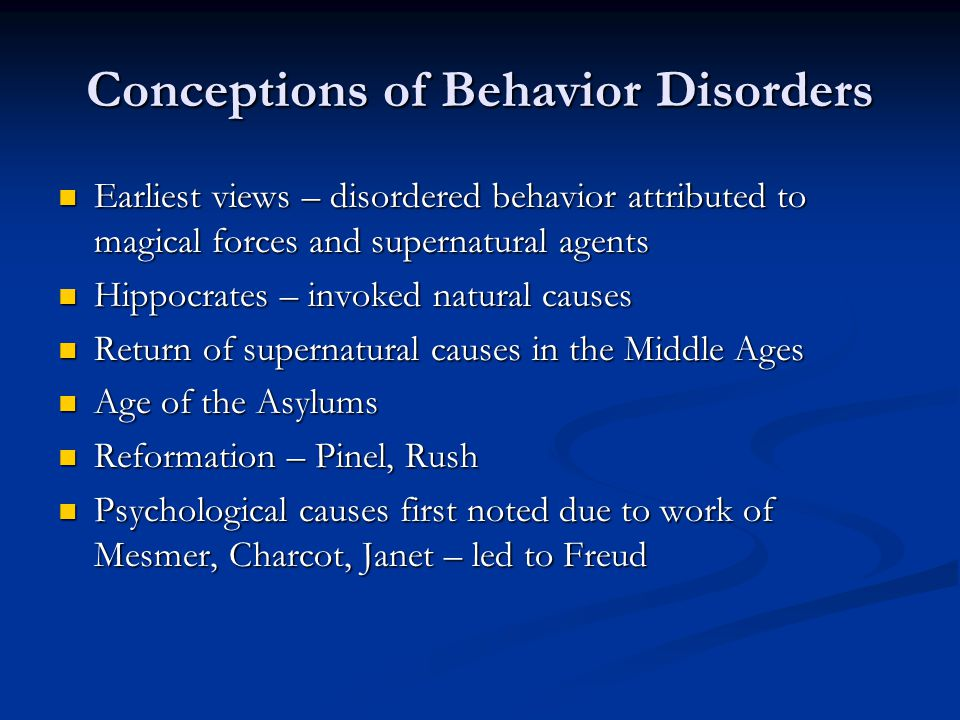 Conceptions of Behavior Disorders