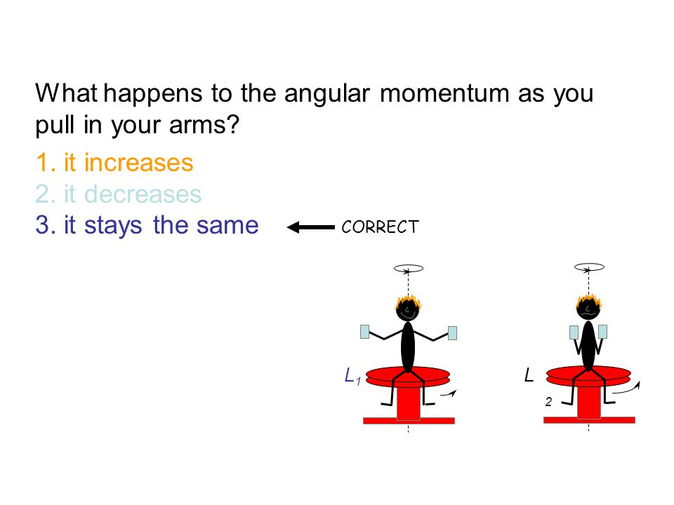 What happens to the angular momentum as you pull in your arms
