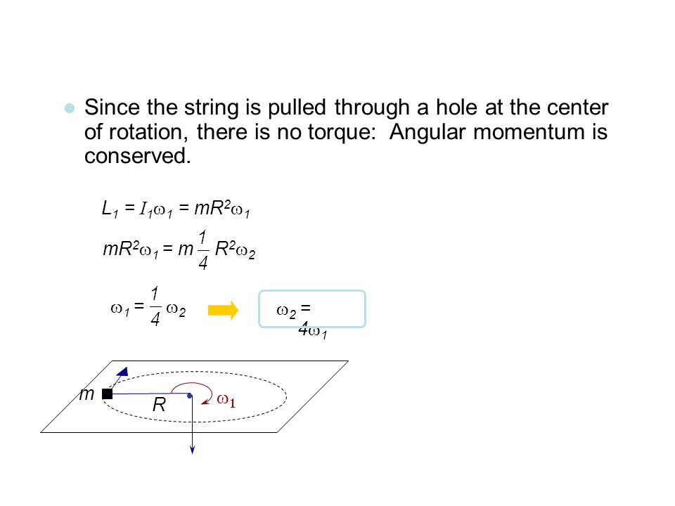 Since the string is pulled through a hole at the center of rotation, there is no torque: Angular momentum is conserved.