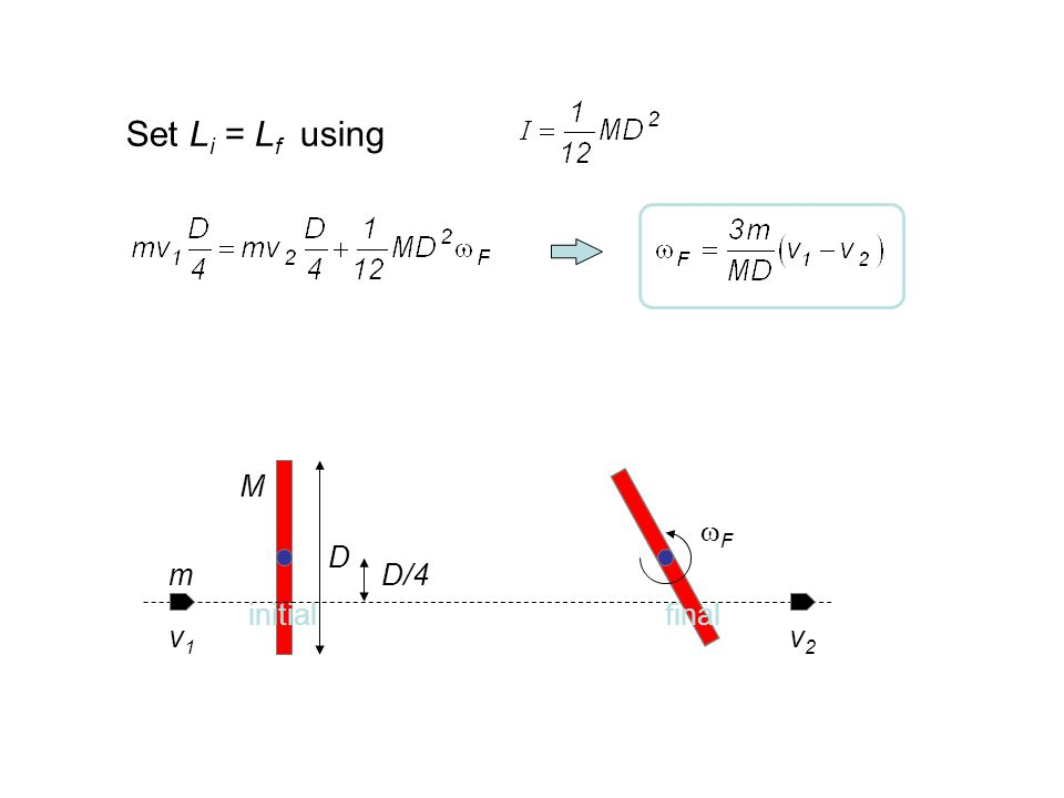 Set Li = Lf using M F D m D/4 initial final v1 v2