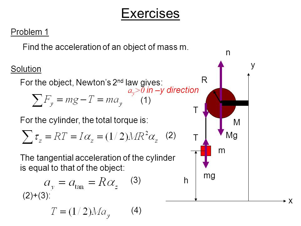 Exercises Problem 1 Find the acceleration of an object of mass m. n y
