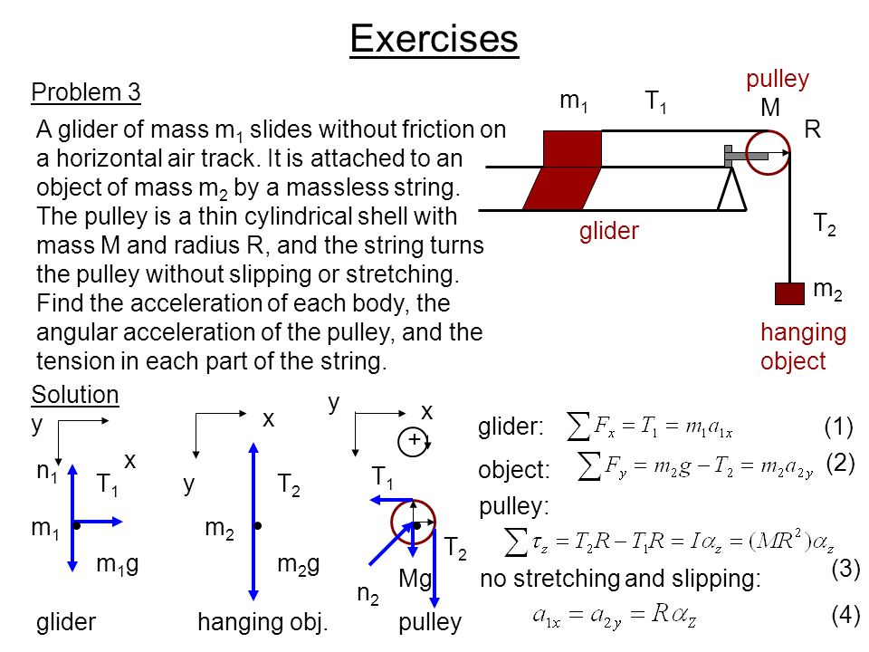 Exercises pulley Problem 3 m1 T1 M