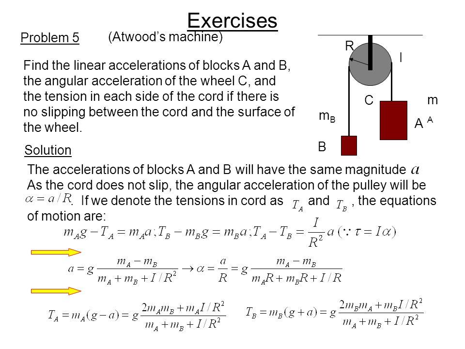 Exercises Problem 5 (Atwood's machine) R I