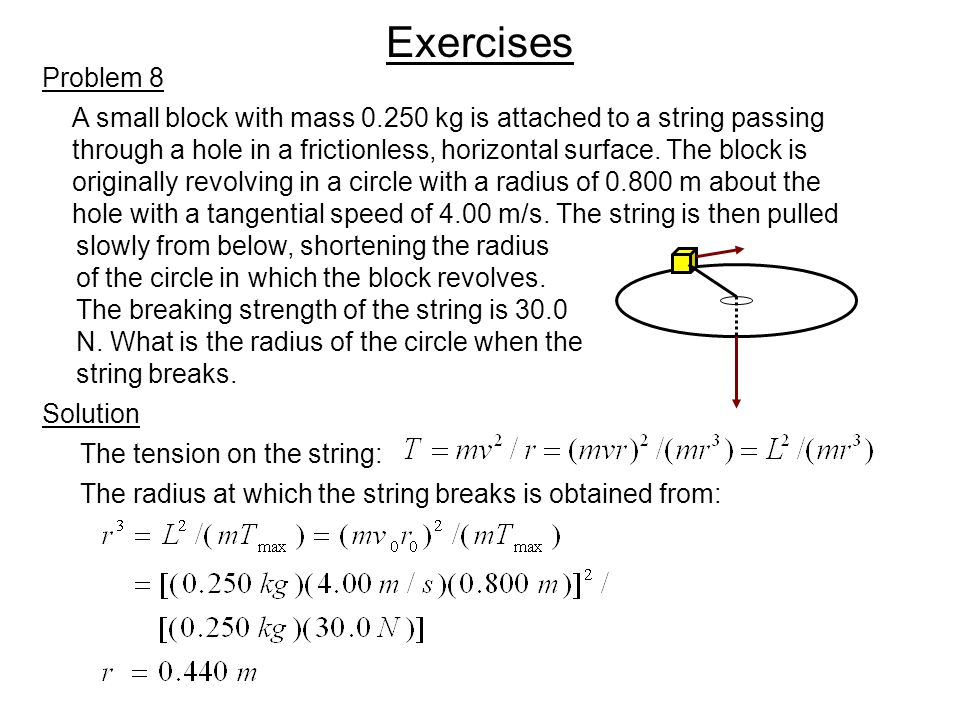Exercises Problem 8. A small block with mass 0.250 kg is attached to a string passing.