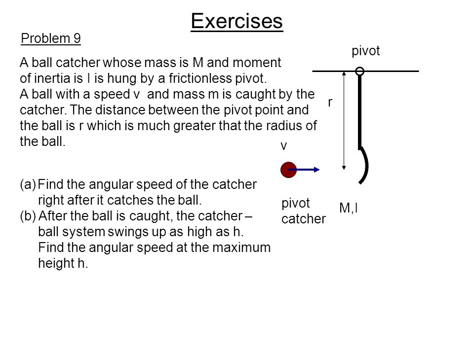 Exercises Problem 9 pivot A ball catcher whose mass is M and moment