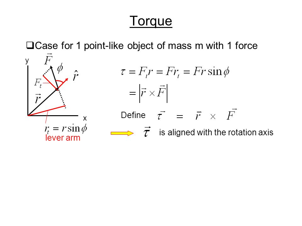 Torque Case for 1 point-like object of mass m with 1 force Define