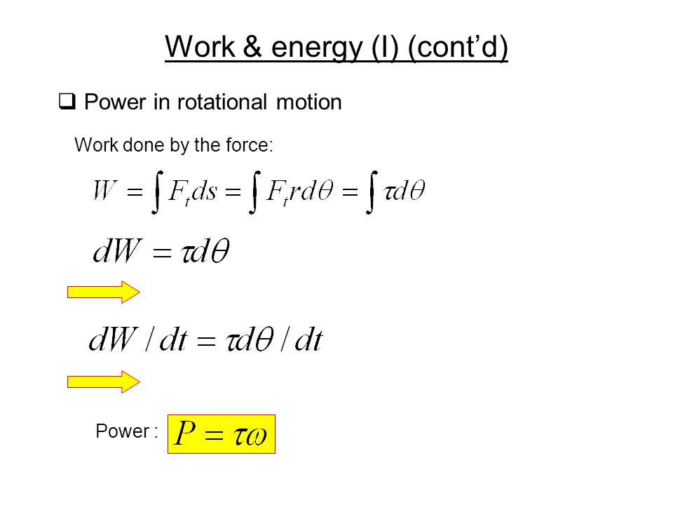 Work & energy (I) (cont'd)