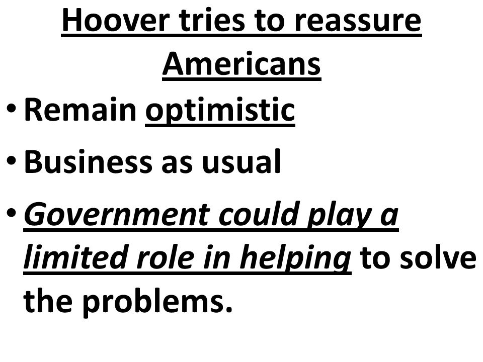 Hoover tries to reassure Americans