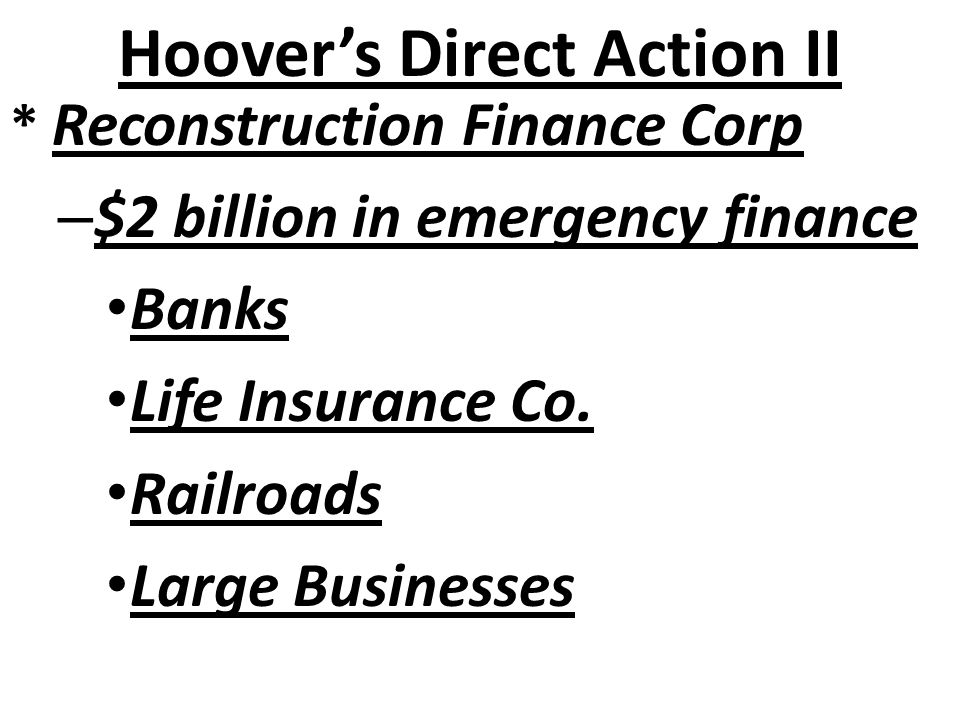 Hoover's Direct Action II