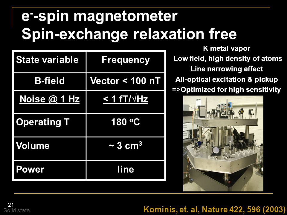 e--spin magnetometer Spin-exchange relaxation free