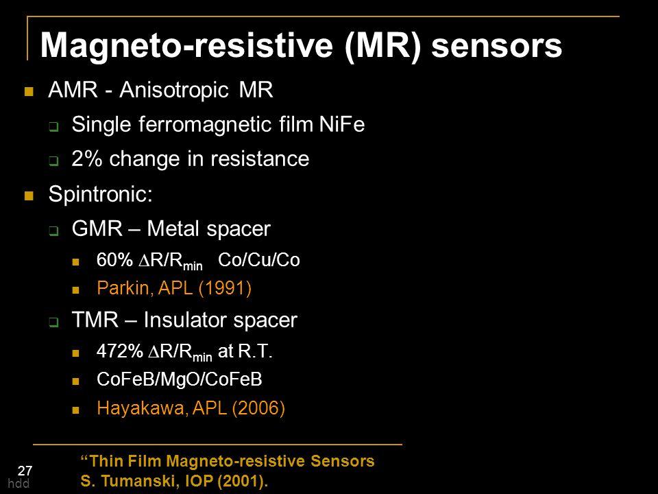 Magneto-resistive (MR) sensors