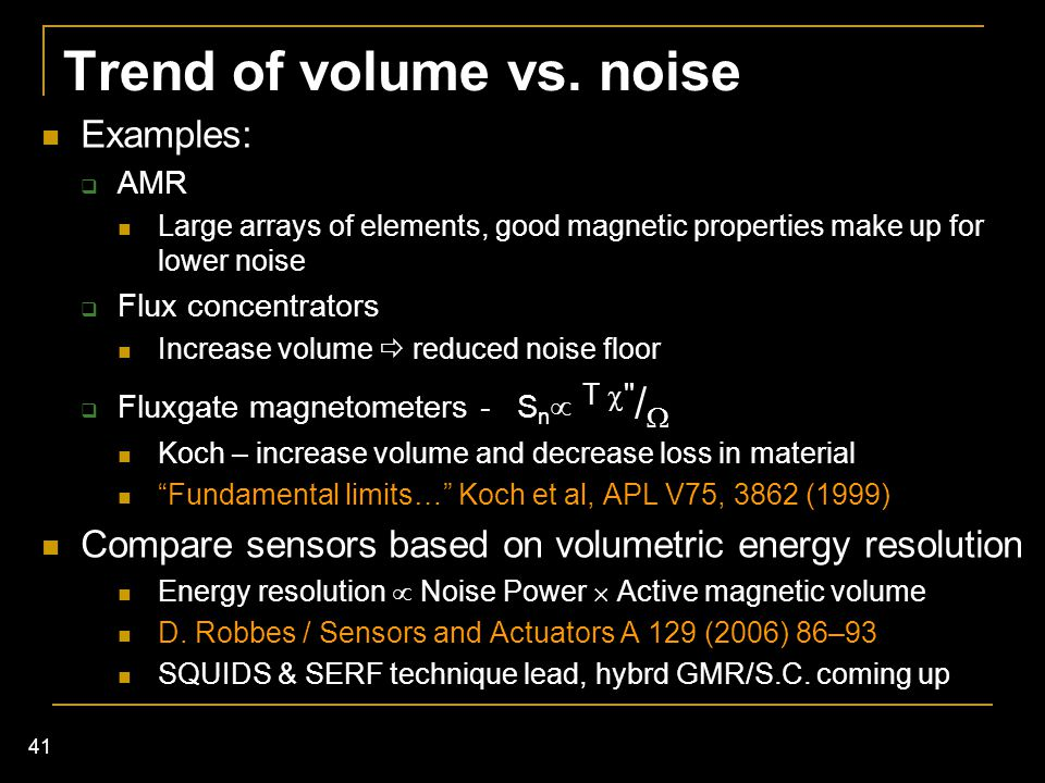 Trend of volume vs. noise
