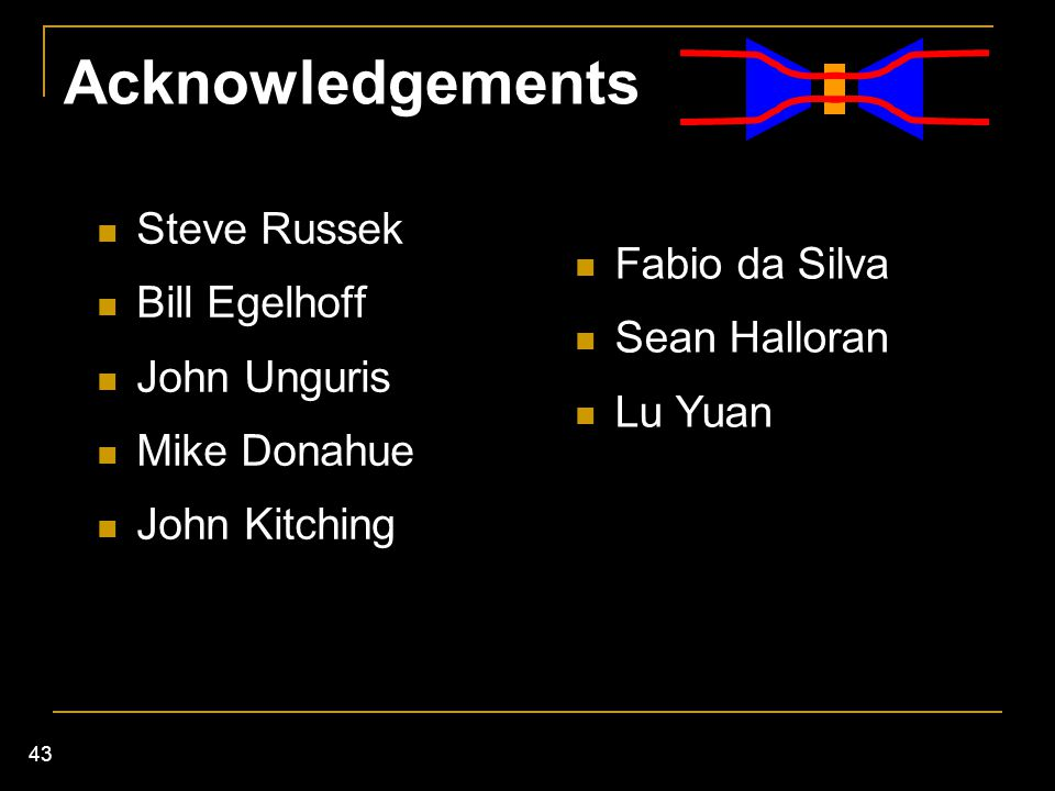 Acknowledgements Steve Russek Bill Egelhoff Fabio da Silva