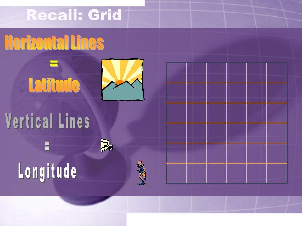Recall: Grid Horizontal Lines = Latitude Vertical Lines = Longitude