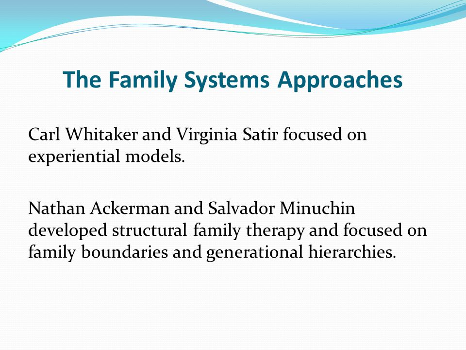 The Family Systems Approaches