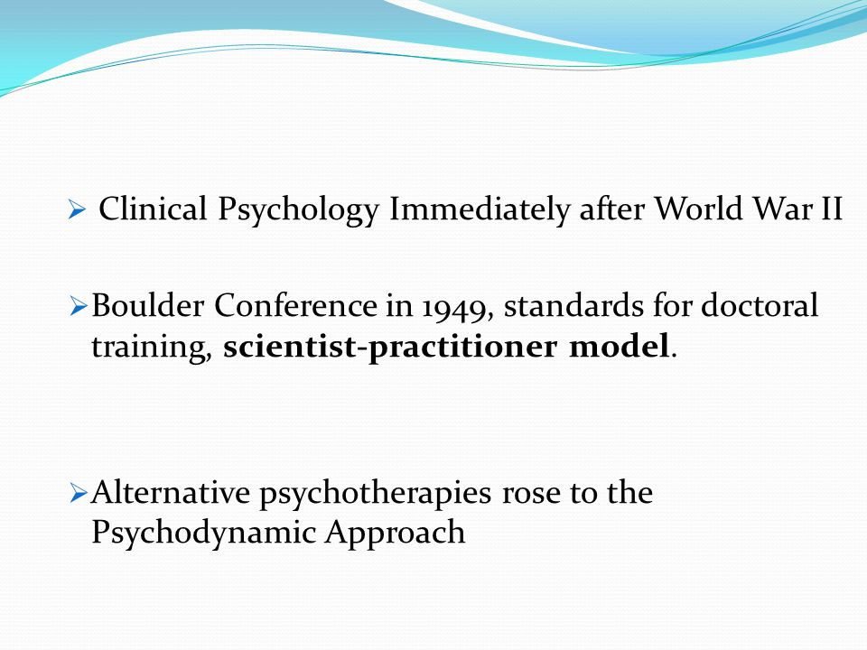 Clinical Psychology Immediately after World War II