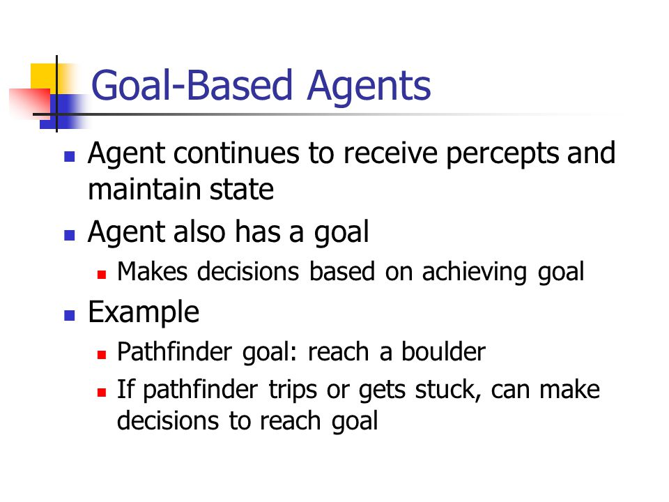 Goal-Based Agents Agent continues to receive percepts and maintain state. Agent also has a goal. Makes decisions based on achieving goal.