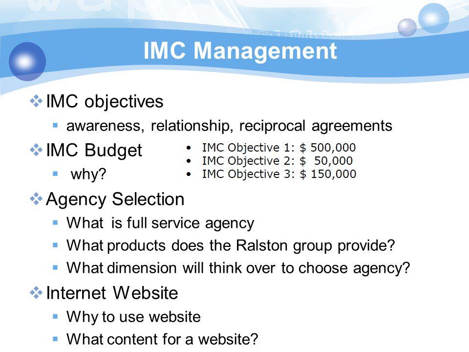 IMC Management IMC objectives IMC Budget Agency Selection