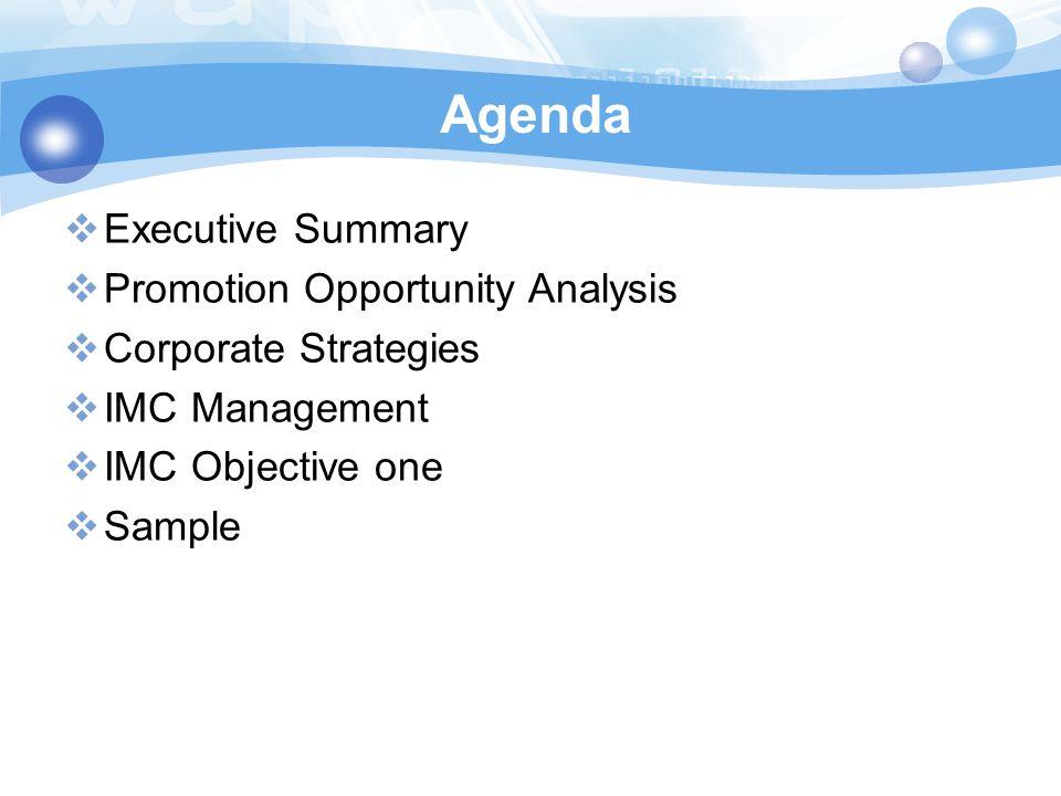 Agenda Executive Summary Promotion Opportunity Analysis