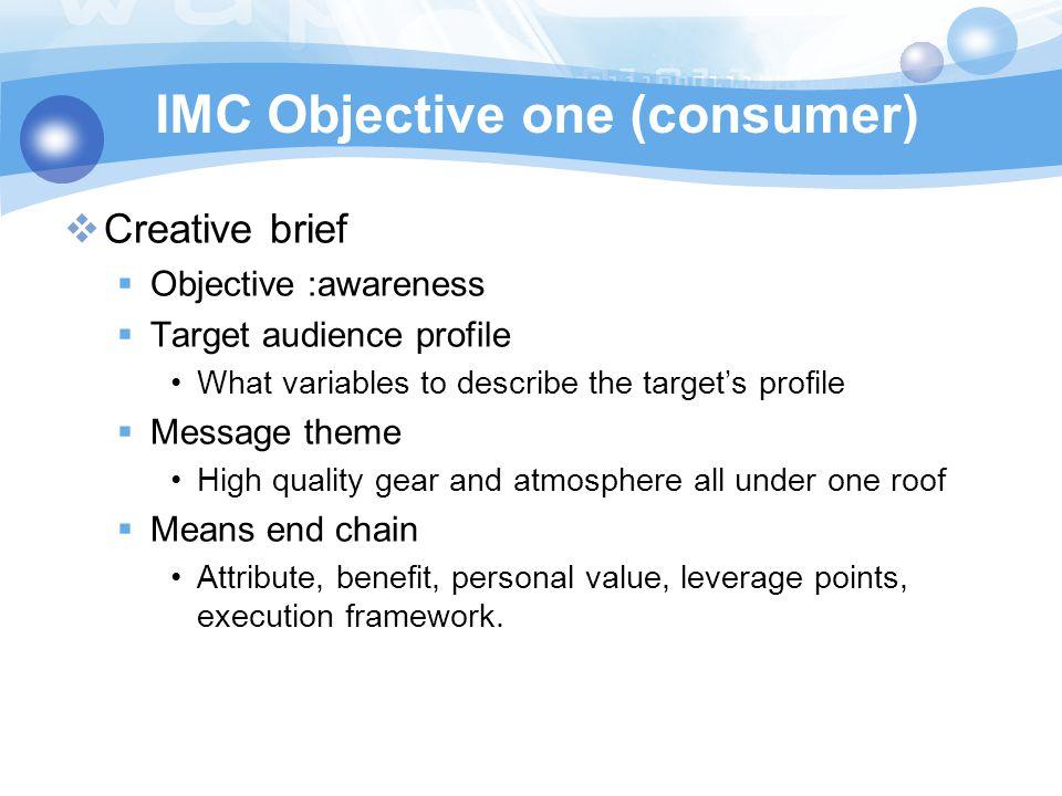 IMC Objective one (consumer)