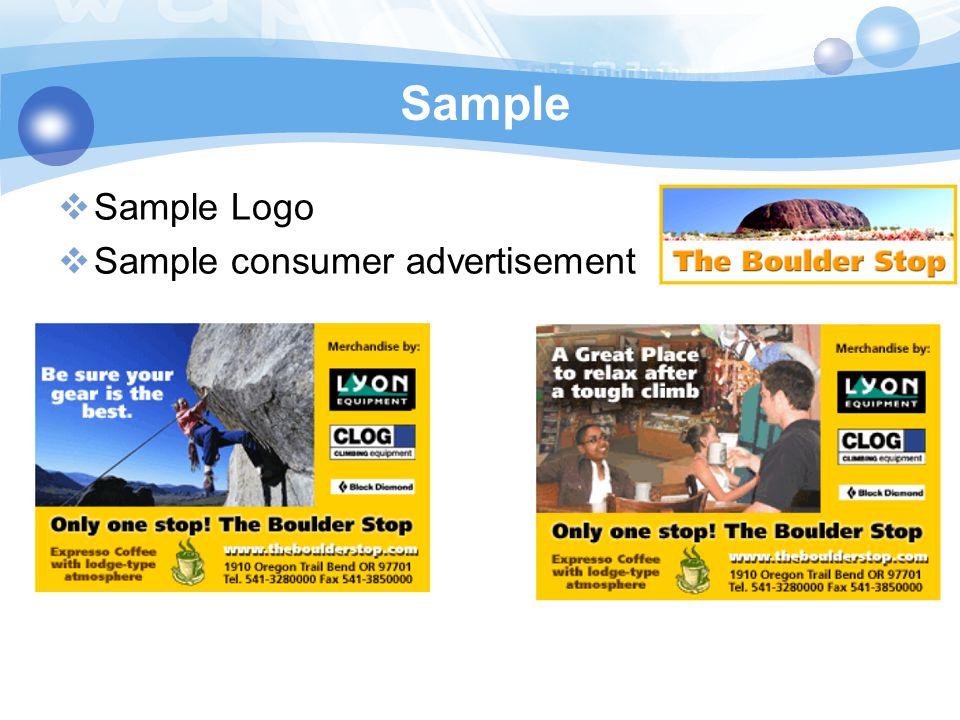 Sample Sample Logo Sample consumer advertisement
