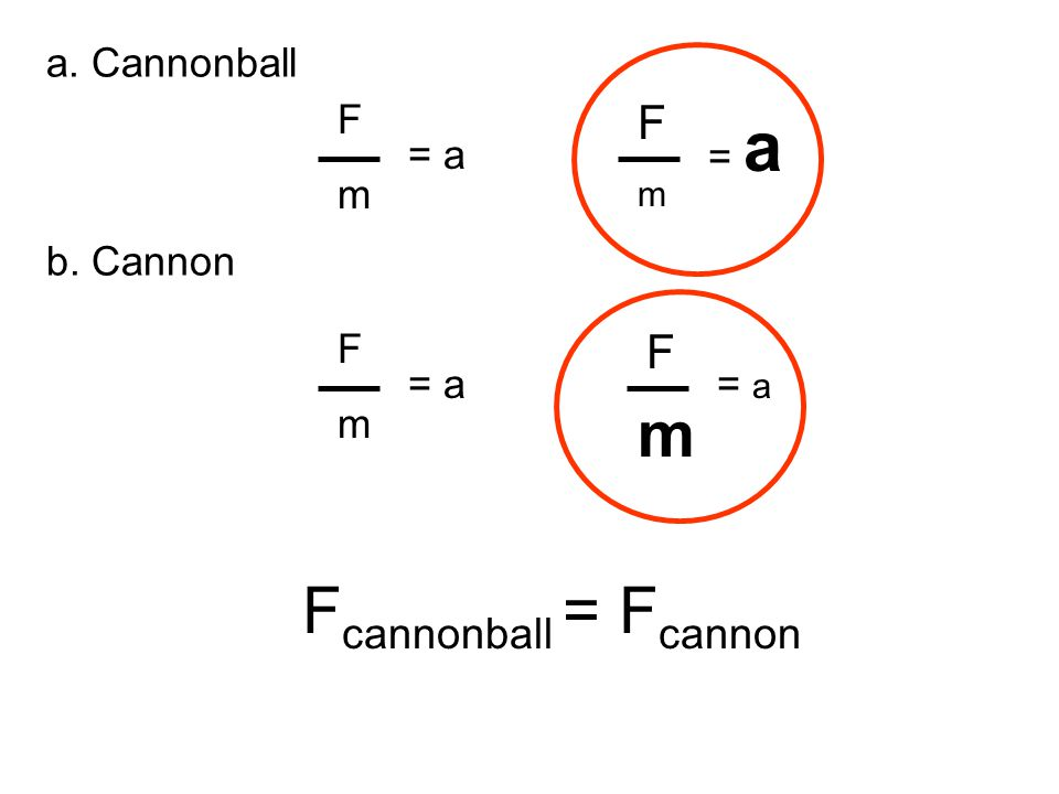 m Fcannonball = Fcannon F F a. Cannonball b. Cannon F m = a = a F m