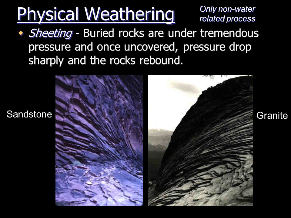 Physical Weathering Only non-water related process.