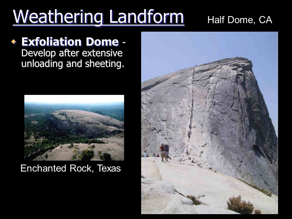 Weathering Landform Half Dome, CA. Exfoliation Dome - Develop after extensive unloading and sheeting.