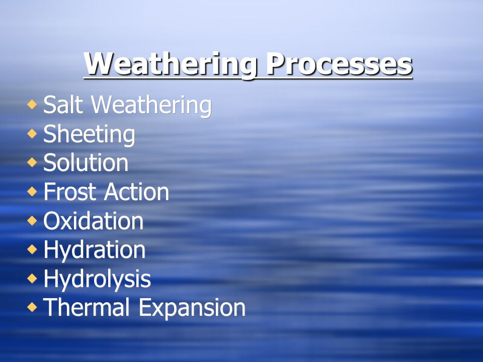 Weathering Processes Salt Weathering Sheeting Solution Frost Action