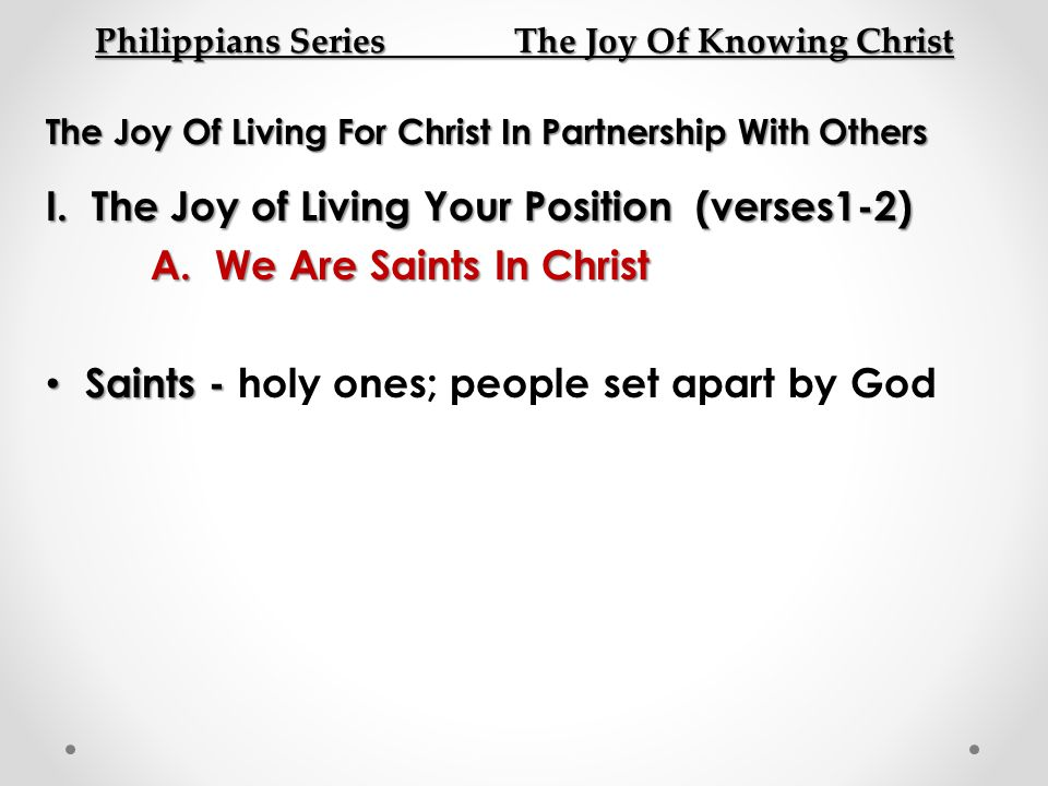 Philippians Series The Joy Of Knowing Christ