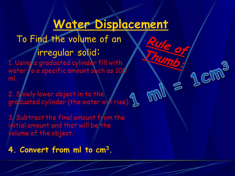 To Find the volume of an irregular solid: