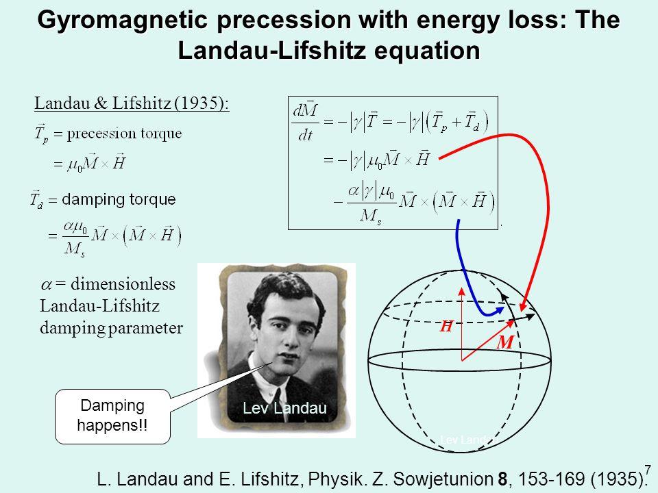 Gyromagnetic precession with energy loss: The Landau-Lifshitz equation