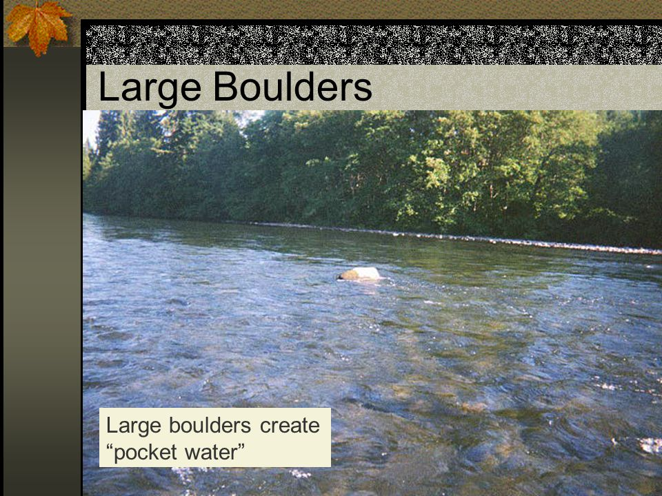 Large Boulders Large boulders create pocket water
