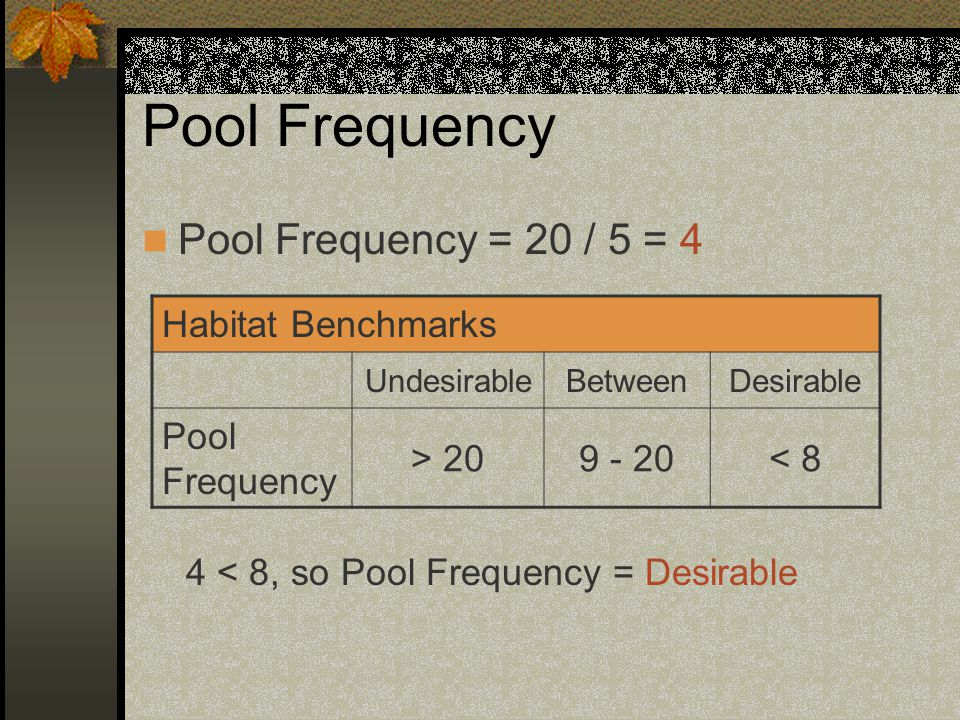 Pool Frequency Pool Frequency = 20 / 5 = 4 Habitat Benchmarks