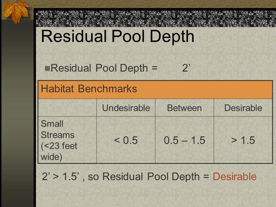 Residual Pool Depth Residual Pool Depth = 2' Habitat Benchmarks