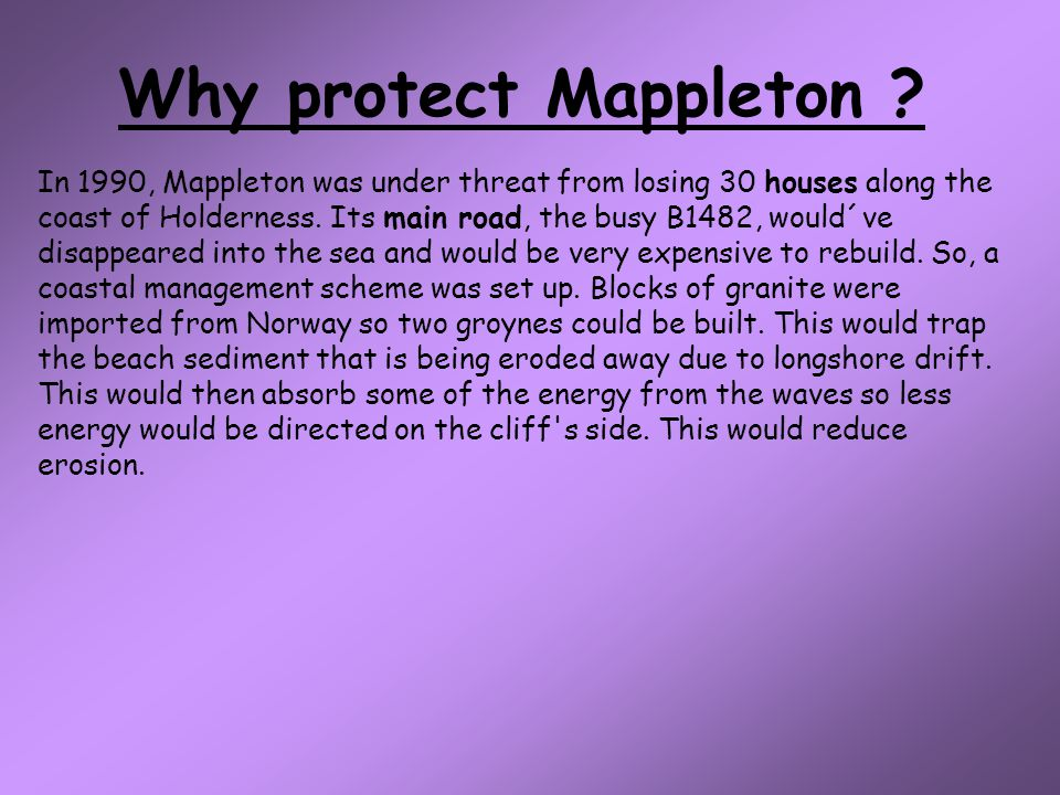 Why protect Mappleton