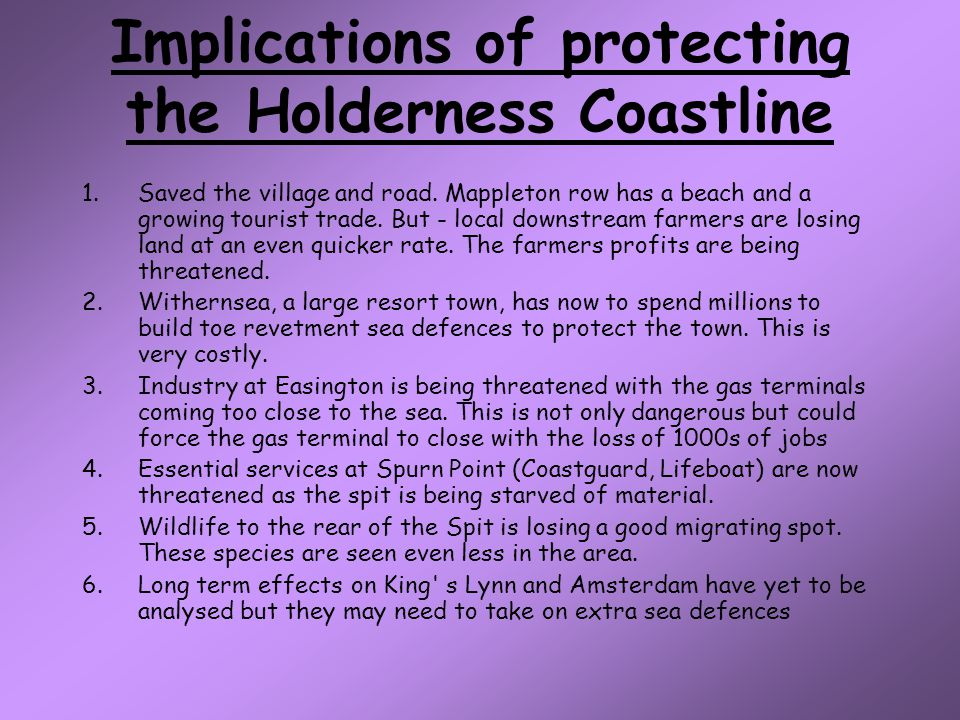 Implications of protecting the Holderness Coastline