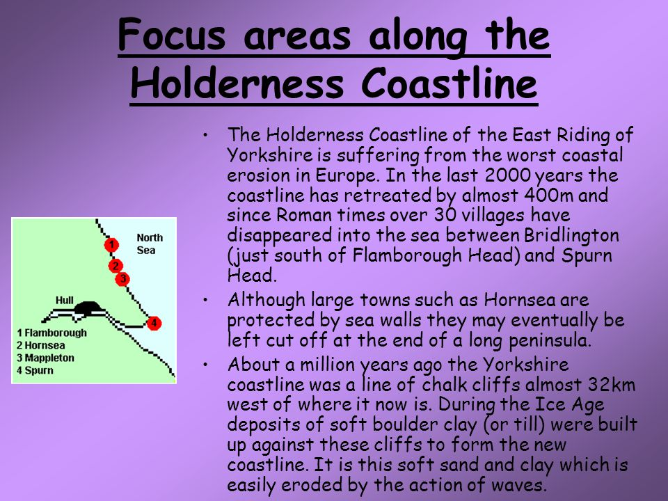Focus areas along the Holderness Coastline