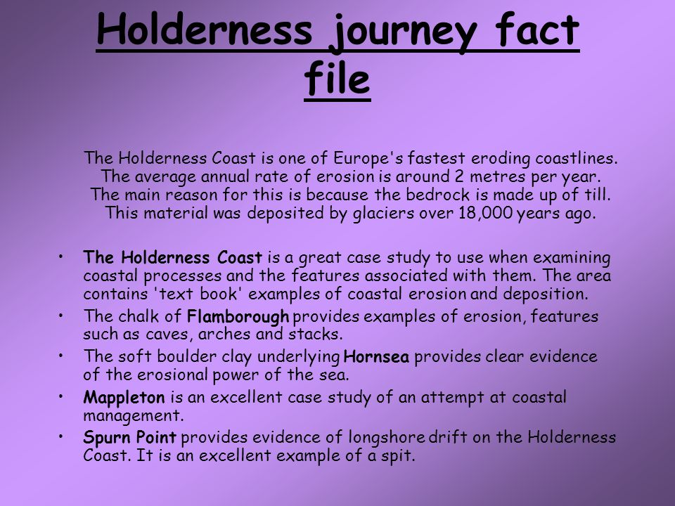 Holderness journey fact file