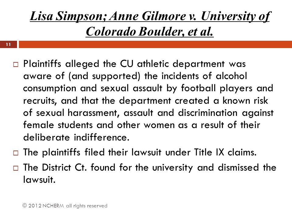 Lisa Simpson; Anne Gilmore v. University of Colorado Boulder, et al.