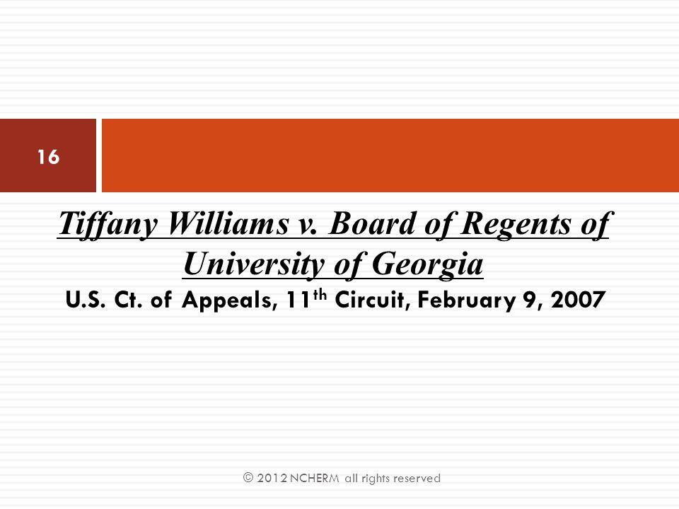 Tiffany Williams v. Board of Regents of University of Georgia U. S. Ct