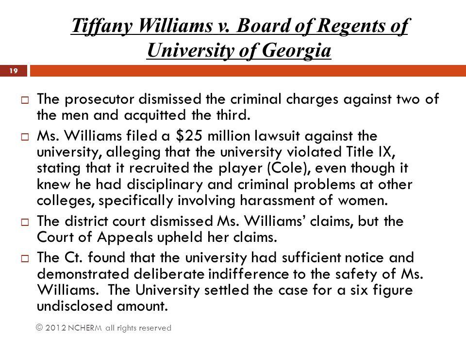 Tiffany Williams v. Board of Regents of University of Georgia