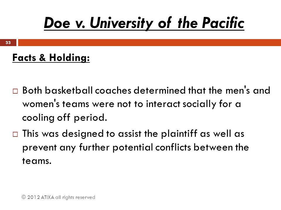 Doe v. University of the Pacific