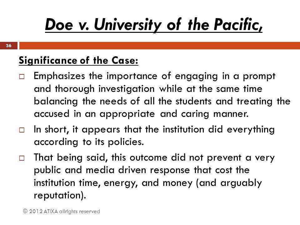 Doe v. University of the Pacific,