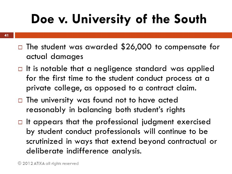 Doe v. University of the South