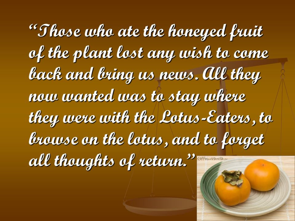 Those who ate the honeyed fruit of the plant lost any wish to come back and bring us news.