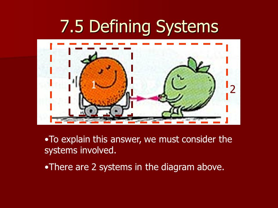 7.5 Defining Systems 1. 2. To explain this answer, we must consider the systems involved.