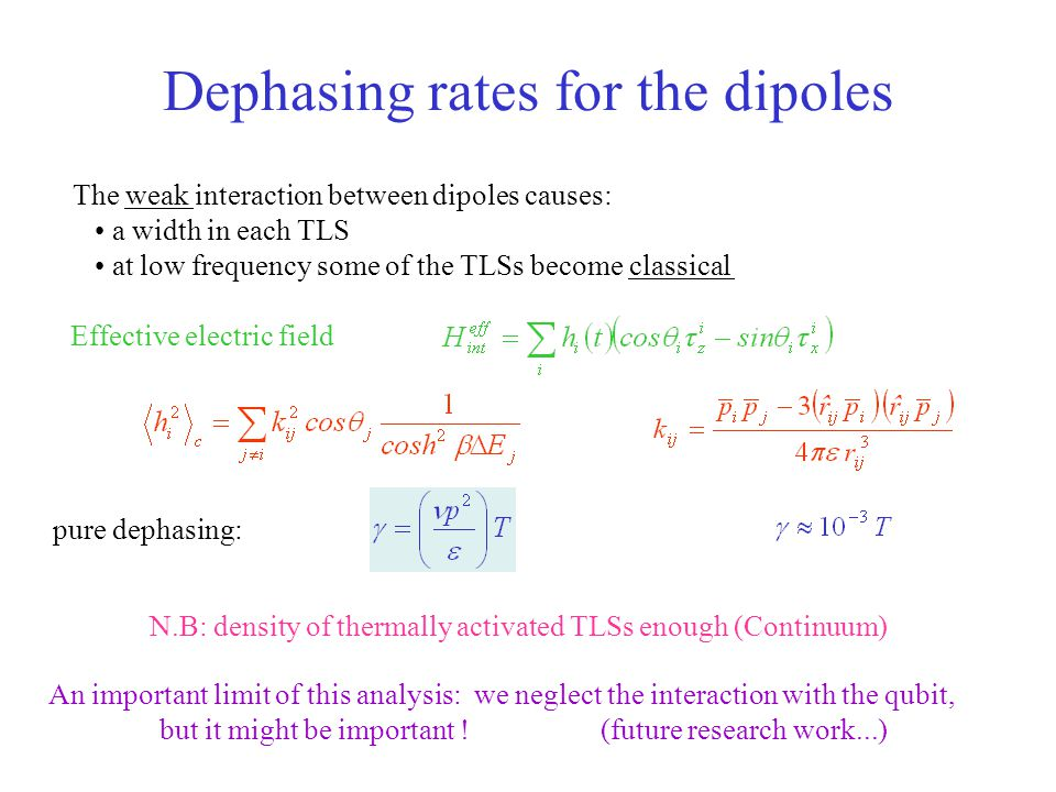 Dephasing rates for the dipoles